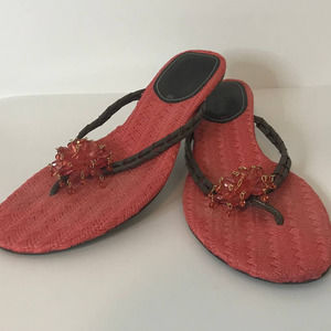 Cole Haan Coral Beaded Flower Sandals 8B